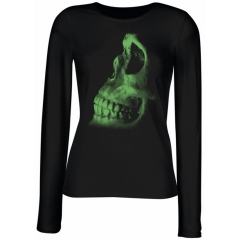 """RIP Skull"" Totenkopf Ladies Longsleeve T-Shirt in Green"