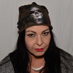 """Rotten Zombie Skull"" Woodland Camo Tarn Beanie in Brooklin Style"